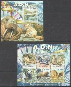 BC1229 2011 MOZAMBIQUE FAUNA WILD ANIMALS MARINE LIFE DNA GENETICS BL+KB MNH