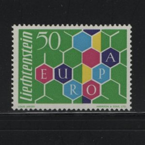 LIECHTENSTEIN 356 Hinged, 1960 Honeycomb