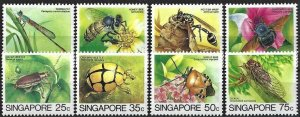 1985 Singapore Definitives, Insects, Bees, short set 8 Values VF/MNH! CAT 18$