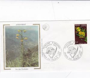 Andorra 1980 Europa Pyrenaen Lily Silk Unadressed FDC