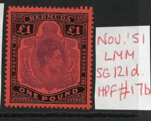 BERMUDA GEORGE VI £1 SG121d with FLAW Nov. 51 Ptg. L/Hinged condition verified.