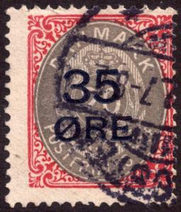 Denmark 1912 35ore on 20ore Grey and Red SG132 Used