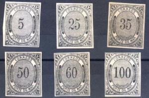 G)1875 MEXICO, PORTE DEL MAR 5, 15, 50, 60 & 100 CTS, 35CTS