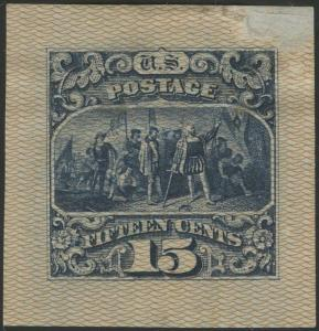 #129-E5 15¢ 1869 SAFETY PAPER DIE ESSAY DARK BLUE ON LT SCARLET TINY THIN WL8260