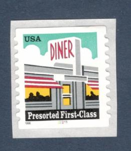 3208a Diner US Single With Plate Number Mint/nh (Free Shipping)