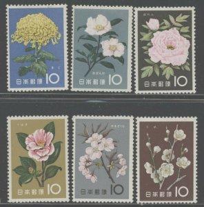 Japan 1961 Flowers set Sc# 712-23 NH
