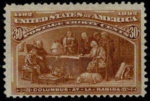 U.S.A. 1893 30c BROWN-ORANGE UNUSED (MH) SG244 Wmk.none P.12 VGC