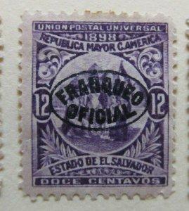 A6P39F213 Salvador Official Stamp 1898 Wmk Liberty Cup optd 12c mh*