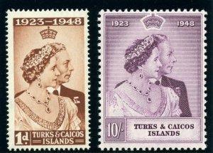 Turks & Caicos 1948 KGVI Silver Wedding set complete MNH. SG 208-209. Sc 92-93.