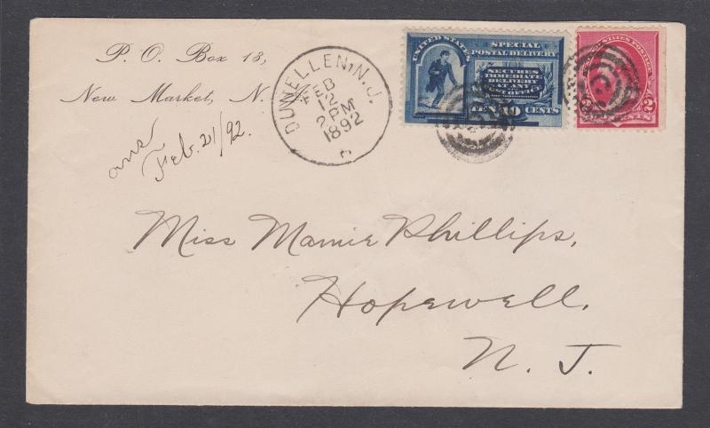 US Sc E2, 220 on 1892 SPECIAL DELIVERY cover with enclosure, RPO cancel