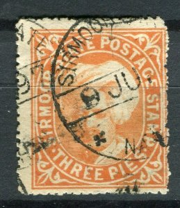 INDIA; SIRMOOR 1885-90s early Raja Parkash local issue fine used 3p. value
