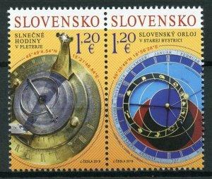 Slovakia 2019 MNH Sundial & Astronomical Clock JIS Slovenia 2v Set Stamps