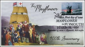 20-235 SC 5524, 2020, Mayflower in Plymouth Bay, FDC, Pictorial Postmark, 400th