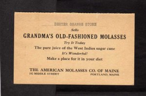 ME American Molasses Co Portland Maine Advertising Card Dexter Grange Store 1932