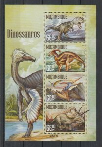 Mozambique MNH S/S Dinosaurs 2016 4 Stamps