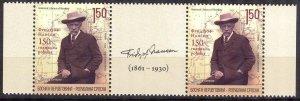 Bosnia / Serbian Post 2011 F. Nansen Voyager pair with Label Nobel Prize MNH