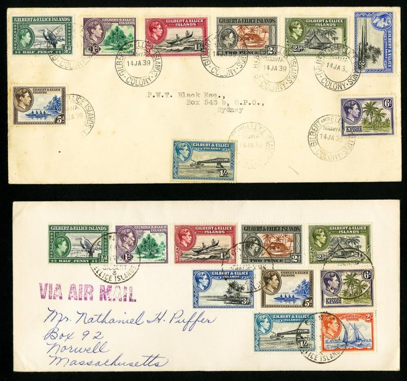 Gilbert & Ellice Stamps 2x Scarce Covers w/ Numerous Stamps and Cancel