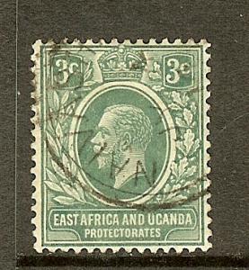 East Africa & Uganda, Scott #41, 3c KGV, Fine Ctr, Used