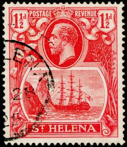 ST. HELENA SG99a, 1½d rose-red, FINE USED, CDS. Cat £200. BROKEN MAINMAST.