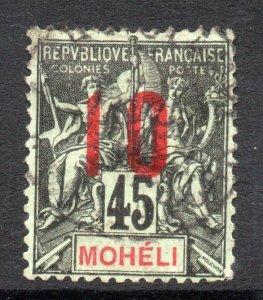 Moheli: 1912 Nav. & Comm. 45c. ovpt. 10c wide setting Sc. 21c used