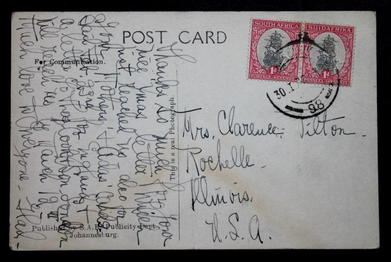 South Africa Post Card with SC# 24 Johannesburg Railway Station