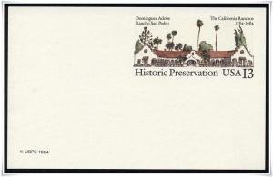 SC#UX104 13¢ Dominguez Adobe Postal Card Mint