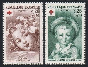 France B365-B366, MNH. Red Cross. Paintings by Fragonard, 1962