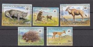 J27500 1982 lesotho set mhr #351-5 animals WWF