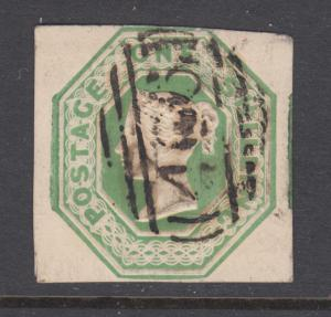 Great Britain Sc 5 used 1847 1s pale green embossed QV, F-VF