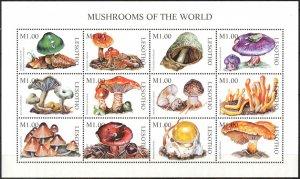 Lesotho 1998 Mushrooms Sheet MNH