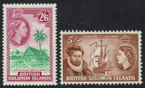BRITISH SOLOMON ISLANDS 1956 QEII PICTORIAL 2/6 AND 5/- MNH **