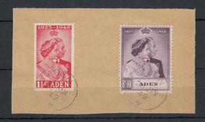 Aden KGVI 1948 Silver Wedding Set On Piece CDS Superb J5288
