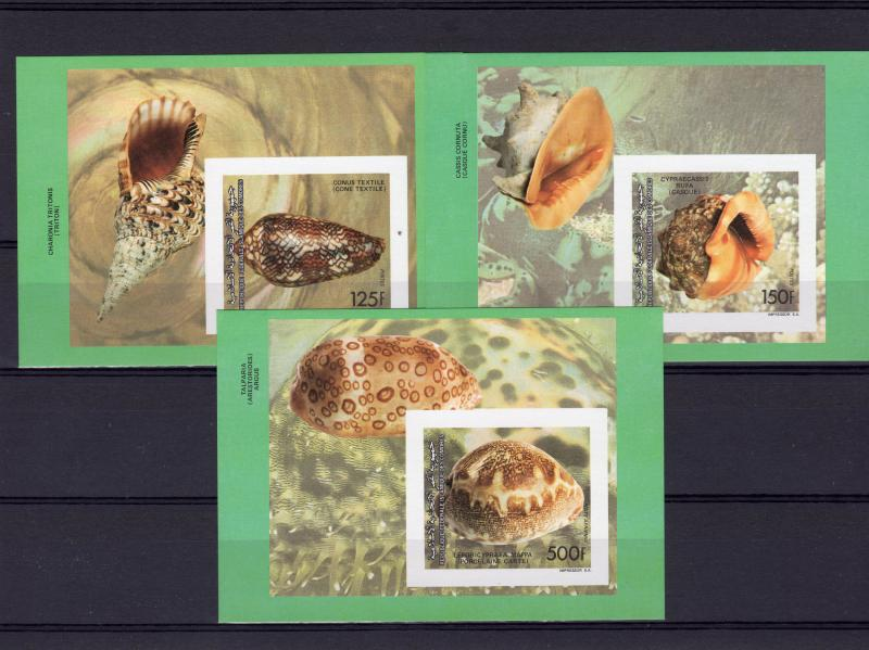 Comoro Islands 1992 Mi#BL.362/364 SEA SHELLS 3  S/S Imperforated MNH