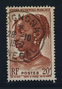 A.O.F. / SÉNÉGAL - 1957 - CAD DE BIGNONA SUR Yv.41 20fr BRUN-ROUGE