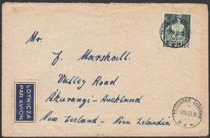 POLAND 1953 175zl Nurse single franking cover to New Zealand................E732