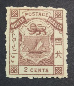 MOMEN: NORTH BORNEO SG #1 1883 MINT OG H £50 LOT #6951