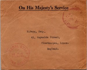 General Staff War Office MC2 > Cleethorpes UK 1939 no stamp WWII