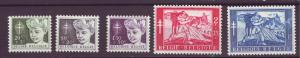 J21334 Jlstamps 1954 belgium set mh #b567-72 no b569