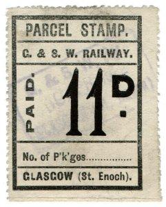 (I.B) Glasgow & South Western Railway : Parcel Stamp 11d (Glasgow)