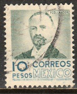 MEXICO 884, $10Pesos 1950 Definitive 2nd Printing wmk 300. USED. F-VF. (1414)
