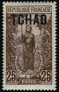 French Chad (Scott #8) Mint OG F-VF hr...Tough French Colony to find!