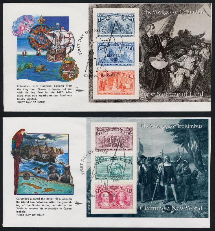 USA 2624-9 on Gill Craft FDC's - Christopher Columbus, Ships, Royalty