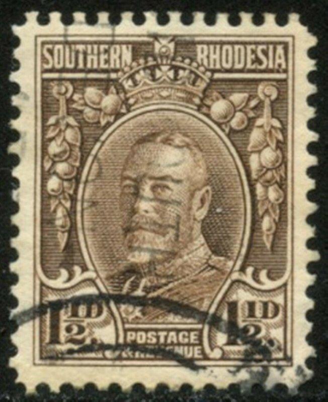 SOUTHERN RHODESIA Sc#18b SG16c 1933 KGV 1½p brown Perf 12 Scarce Variety Used