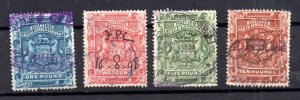 Rhodesia BSAC 1892 high values to £10 fiscally used WS15425