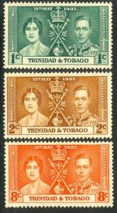 TRINIDAD AND TOBAGO 1937 KGVI CORONATION Set Sc 47-49 MNH