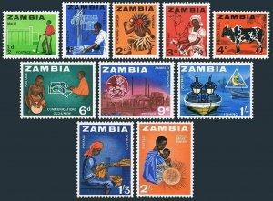 Zambia 4-13,MNH.Michel 1-10. Farmer,X-Ray technician,Chinyau dance,Cotton,Bull,
