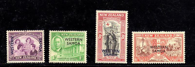SAMOA #191-194  1946  PEACE ISSUE       MINT VF LH O.G  a