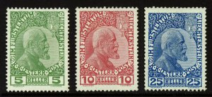 LIECHTENSTEIN 1915 Austrian P.O. Prince John Set on Thin Paper SG 4 to SG 6 MINT