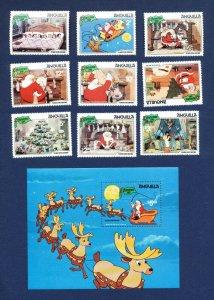 ANGUILLA - # 453-462 - VFMNH set & S/S - The Night Before Christmas, Santa 1981