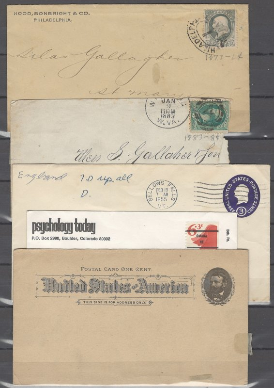 COLLECTION LOT OF # 1939 UNITED STATES 5 COVERS & POSTCARD 1873+